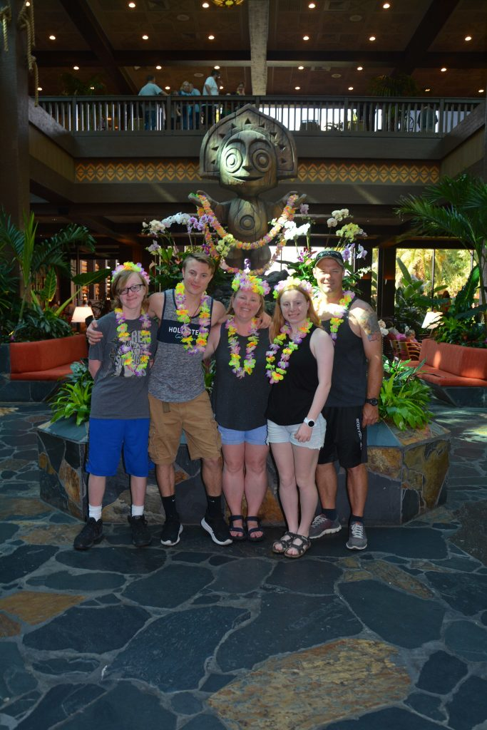 Family of five at the Polynesian resort in Walt Disney World