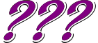 Three purple question marks