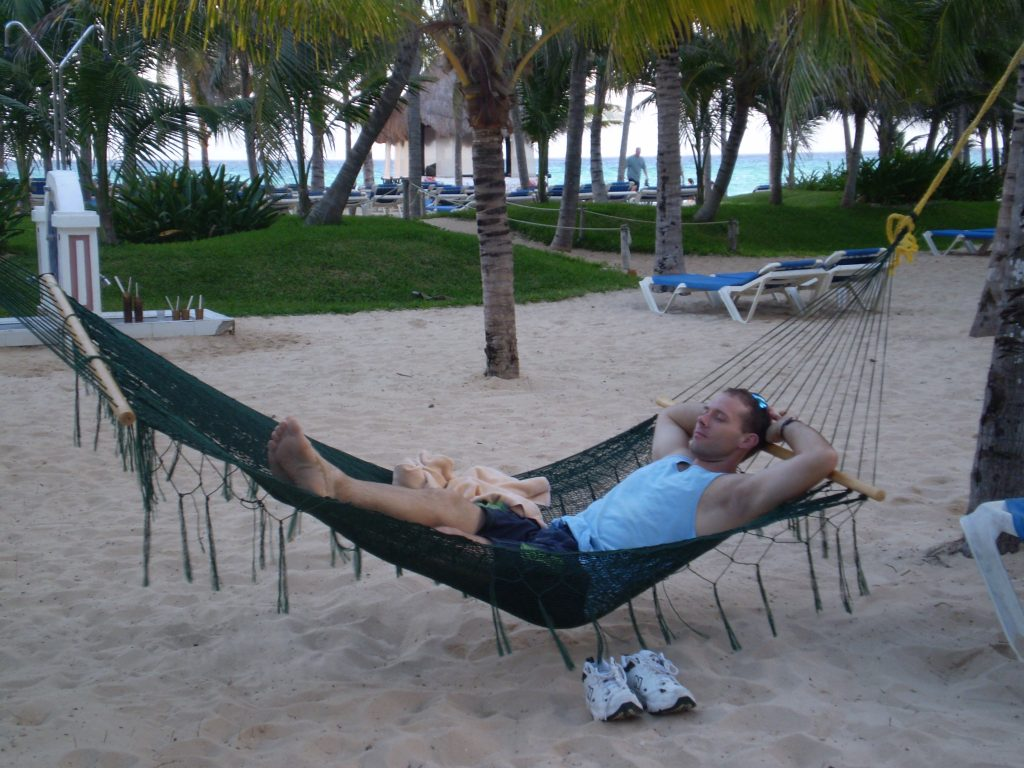 Mexico Beach scene with man in hammock