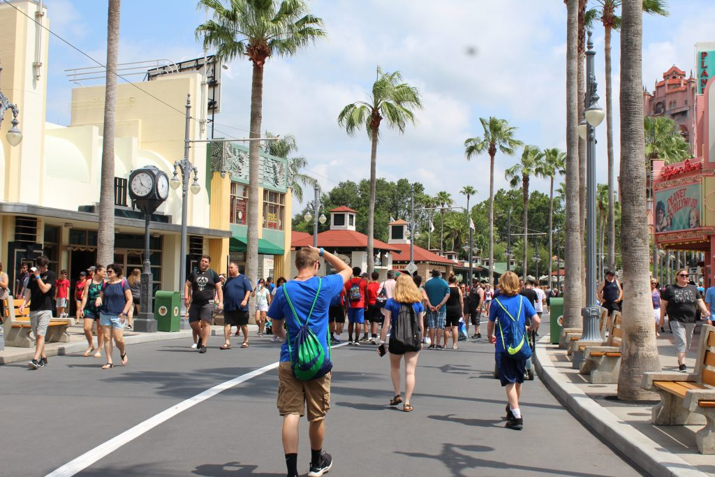 Adolescents at Disney's Hollywood Studios walking towards the Tower or Terror