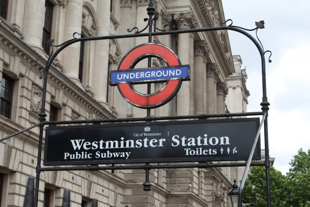Westminster Underground sign in London, England