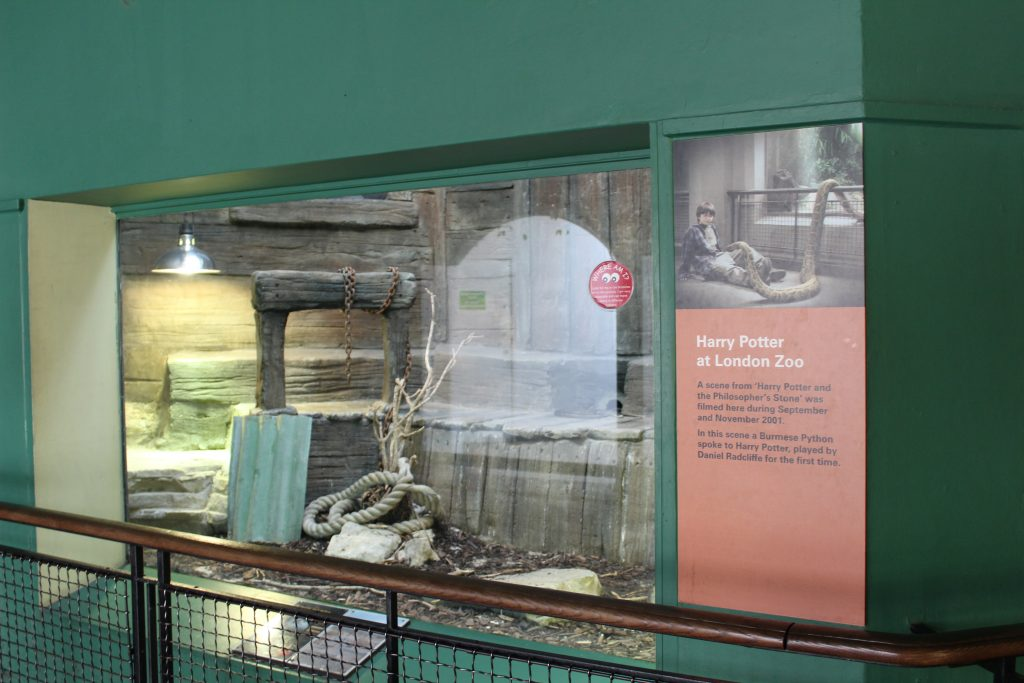 Reptile house at London Zoo where Harry Potter scene was filmed
