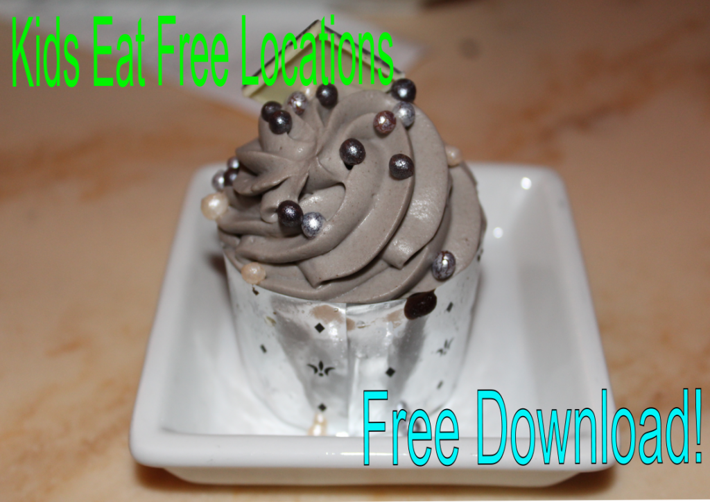 cupcake with kids eat free sign