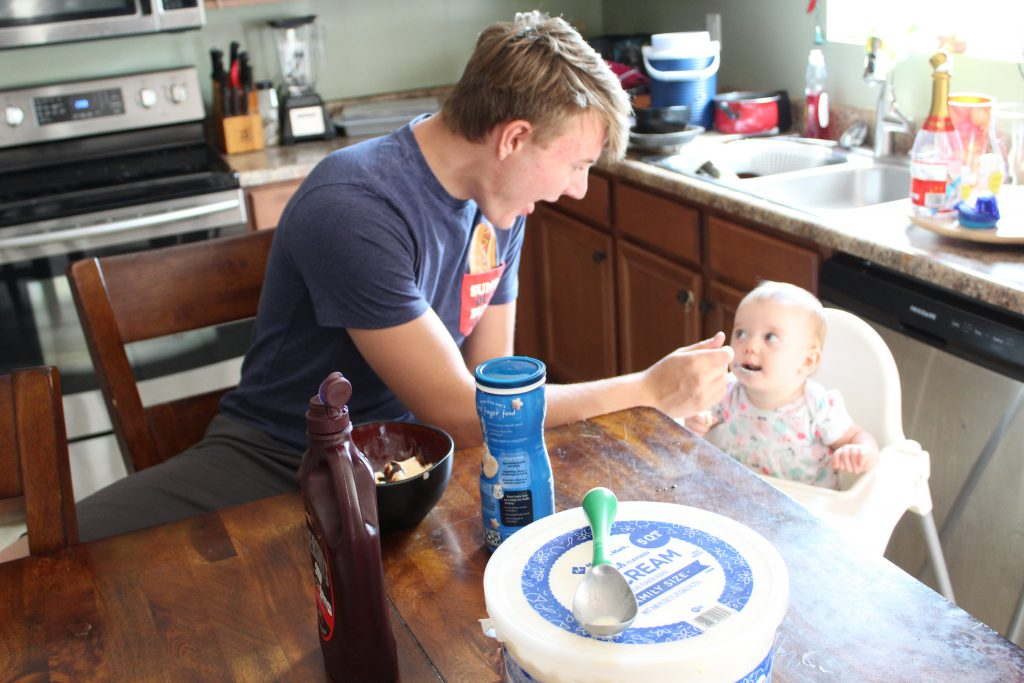 Teen uncle with infant neice