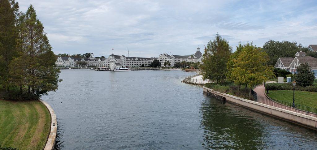 View of disney's Yacht Club from Disney's Boardwalk
